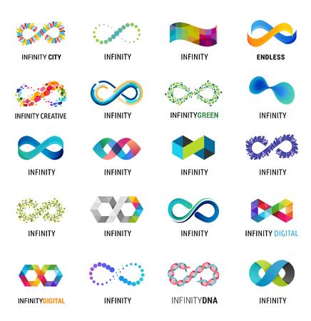 Ilustración de Colorful abstract infinity, endless symbols and icon collection - Imagen libre de derechos