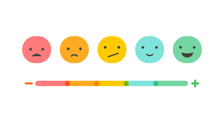 Illustration pour Feedback concept design, emotions scale background and banner - image libre de droit