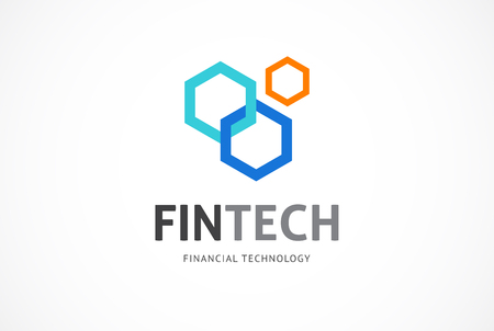 Ilustración de Modern logo innovative concept for fintech and digital finance industry - Imagen libre de derechos