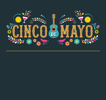 Illustration pour Cinco de Mayo - May 5, federal holiday in Mexico. Fiesta banner and poster design with flags, flowers, decorations - image libre de droit