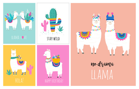 Ilustración de Llama and alpaca collection of cute hand drawn illustrations, cards and design for nursery design, poster, greeting card - Imagen libre de derechos