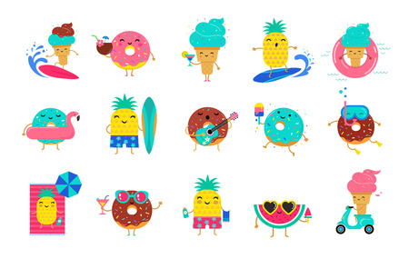 Illustration pour Sweet summer - cute ice cream, watermelon and donuts characters make fun. Pool, sea and beach summer activities concept vector illustrations - image libre de droit