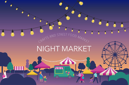 Ilustración de Night market, Summer fest, food street fair, family festival poster and banner colorful design - Imagen libre de derechos
