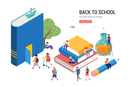 Illustration for Back to school, books, education and research concept. College and university scene with children, students - Royalty Free Image