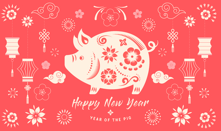 Ilustración de Happy Chinese new year 2019, the year of pig. Vector banner, background - Imagen libre de derechos