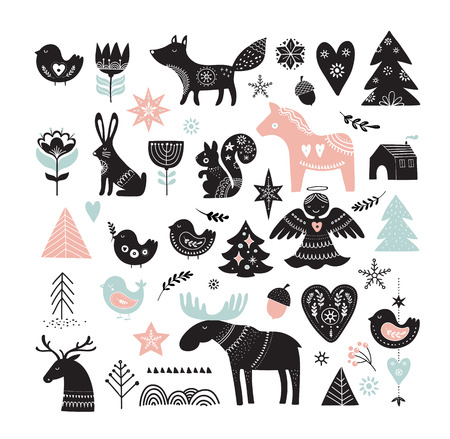Illustration pour Christmas illustrations, banner design hand drawn elements and icons in Scandinavian style - image libre de droit