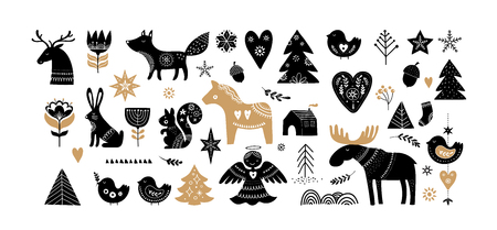Illustration for Christmas illustrations, banner design hand drawn elements and icons in Scandinavian style - Royalty Free Image