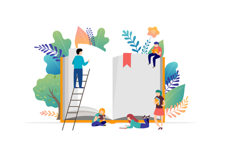 Ilustración de Book festival concept - a group of tiny people reading a huge open book. Vector illustration, poster and banner - Imagen libre de derechos