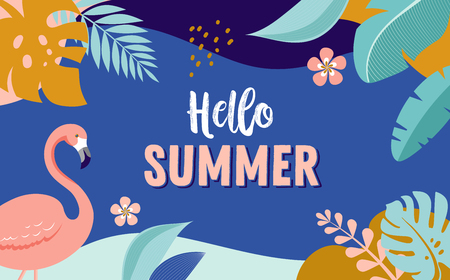 Illustration pour Hello Summer, vector banner design with flamingo and tropical leaves, background template - image libre de droit