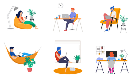 Illustration for Working at home, coworking space, concept illustration. Young people, man and woman freelancers working on laptops and computers at home. Vector flat style illustration - Royalty Free Image
