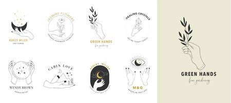 Illustration pour Collection of fine, hand drawn style and icons of hands. Esoteric, fashion, skin care and wedding concept illustrations. - image libre de droit