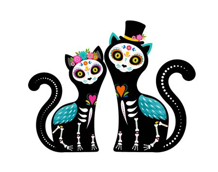 Illustration pour Day of the dead, Dia de los muertos, cats skulls and skeleton decorated with colorful Mexican elements and flowers. Fiesta, Halloween, holiday poster, party flyer. Vector illustration - image libre de droit