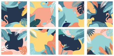 Photo pour Collection of abstract background designs - summer sale, social media promotional content. Vector illustration - image libre de droit