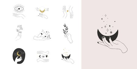 Illustration pour Collection of fine, hand drawn style  and icons of hands. Fashion, skin care and wedding concept illustrations. - image libre de droit