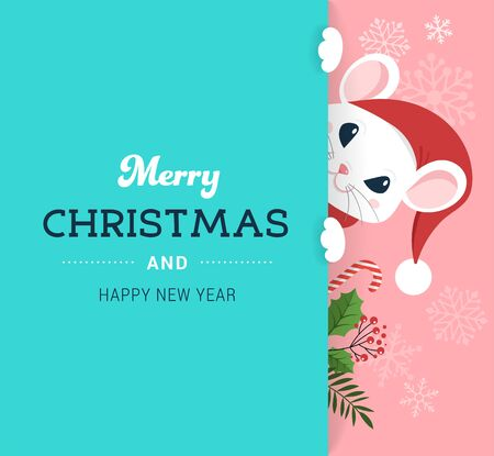 Illustration pour Santa Mouse, Chinese New Year and Merry Christmas concept design. Vector illustration in flat style - image libre de droit