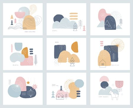 Illustration pour Collection of abstract background designs, shapes in clean Scandinavian trendy style. Story templates, winter sale and social media promotional content - image libre de droit