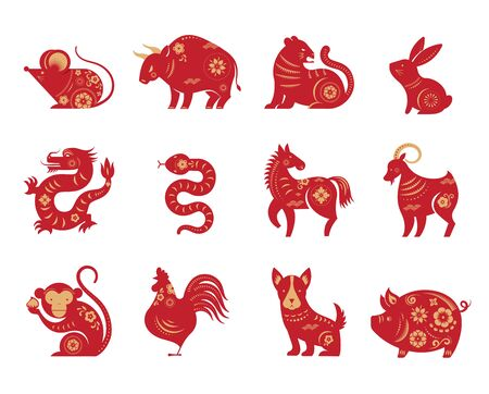 Illustration pour Chinese new year, zodiac signs, paper cut icons and symbols. - image libre de droit