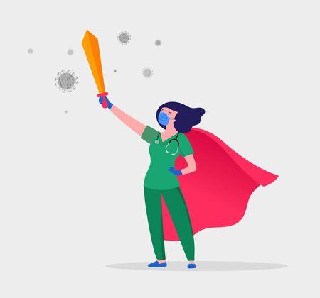 Illustration pour Super doctor and nurse wearing medical masks and capes, superhero couple, vector cartoon illustration - image libre de droit