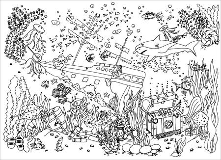 Illustration pour Sunken treasure. Wreck. - image libre de droit