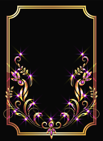 Illustration for Background with golden ornament and sparkling lights - Royalty Free Image