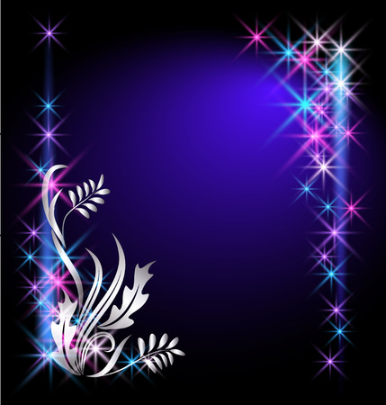Glowing background with stars and silver ornament