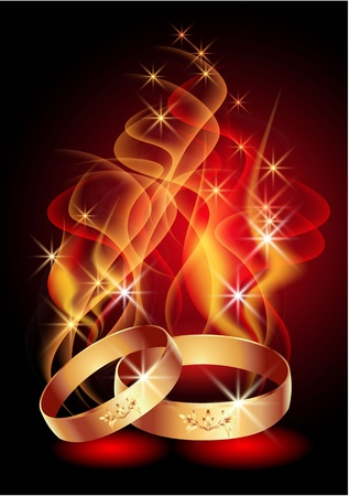 Wedding rings in abstract flames and smoke