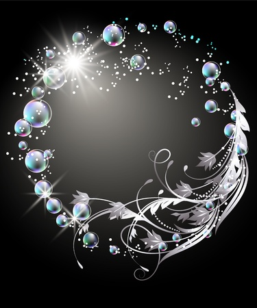 Glowing background with sphere, silver ornament, stars and bubbles