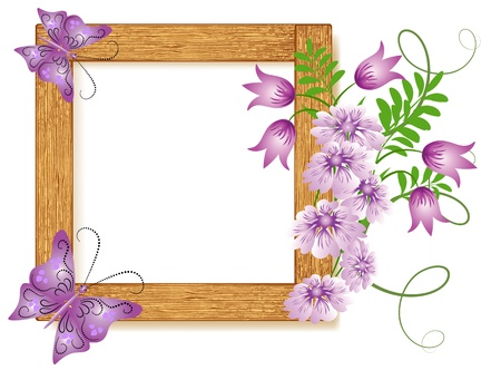 Design wooden photo frames with flowers and butterfly