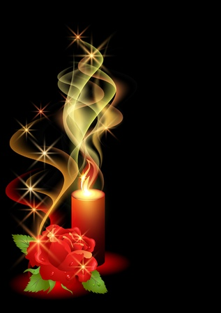Rose and a burning candle