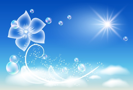 Glowing background with transparent flower