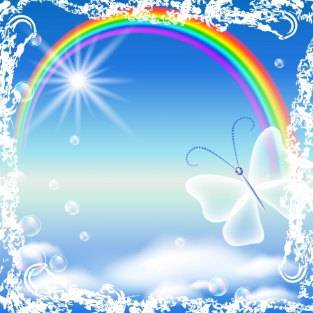 Rainbow, clouds and butterfly in grunge frame