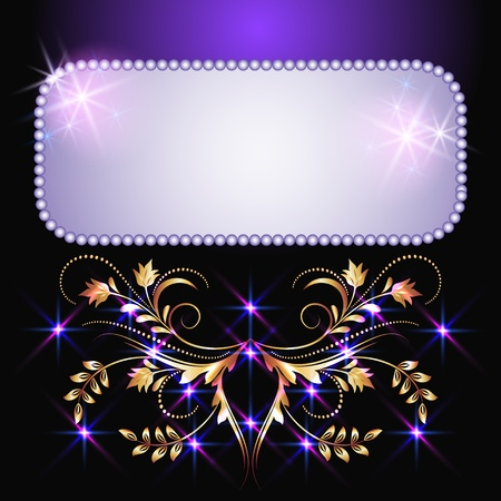 Glowing background with signboard, stars and golden ornament