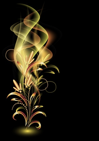 Photo pour Glowing background with smoke and golden ornament - image libre de droit