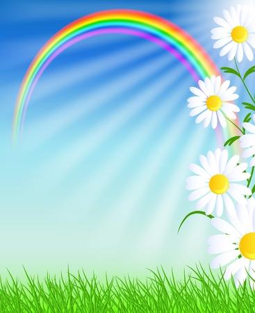Ilustración de Camomiles, rainbow and blue sky - Imagen libre de derechos