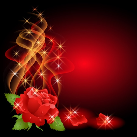 Illustration pour Glowing background with rose, smoke and stars - image libre de droit