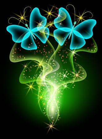 Glowing background with smoke and butterfly