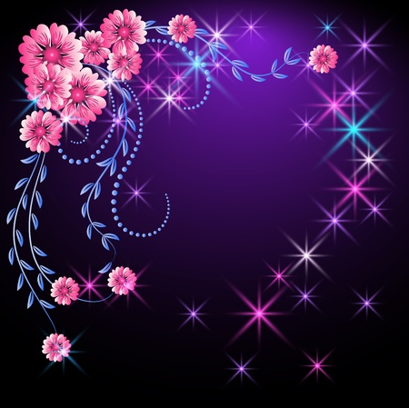 Illustration for Glowing background with flowers and stars - Royalty Free Image