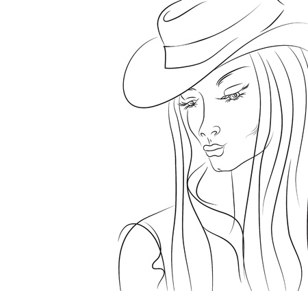 Woman in a hat with long hair and drooping eyelids
