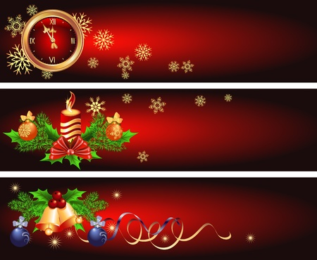 Set Christmas backgrounds with candles, bells and chimes