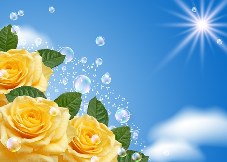 Yellow rose and bubbles against the sky