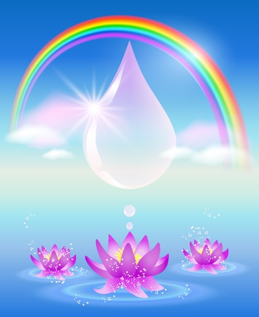 Rainbow, water drop, clouds and lilies  Symbol of clean water