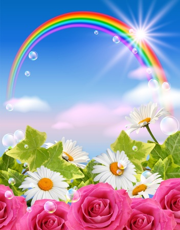 Sky, flowers, clouds, rainbow  and  sunshine