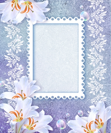 Old grunge background with white lily and openwork frame
