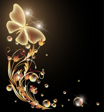 Glowing background with golden ornament and butterfly