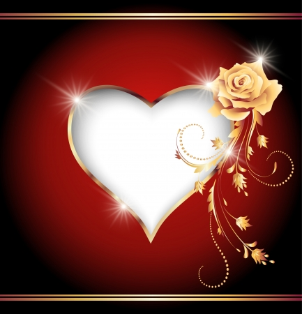 Card with decorative heart and golden rose