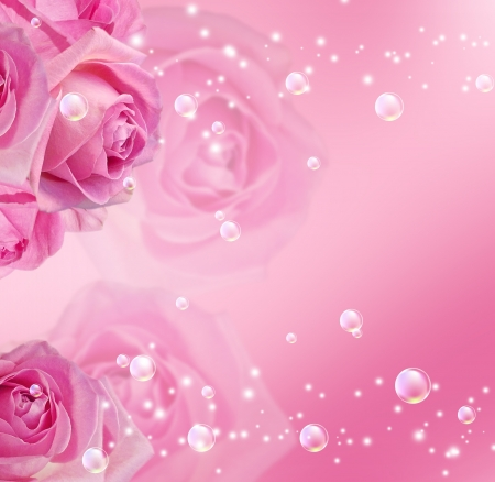 Pink roses, stars and bubbles