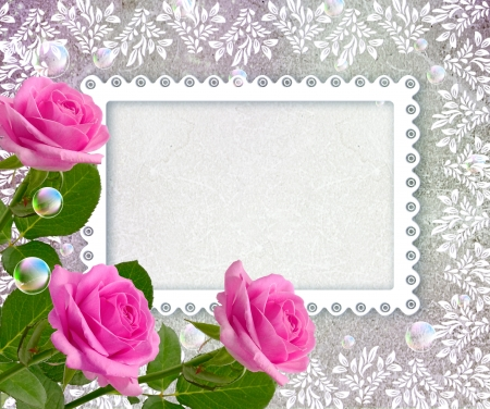 Old grunge background with roses and openwork frame