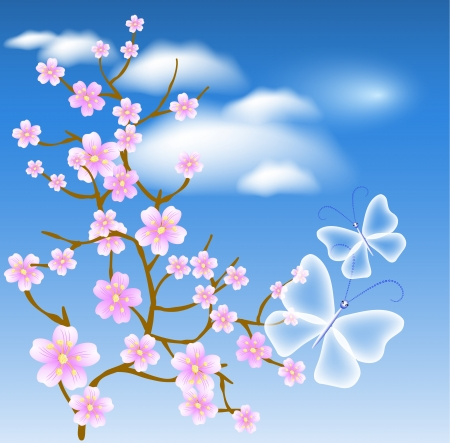 Flowering tree against a background of clouds and transparent butterflies