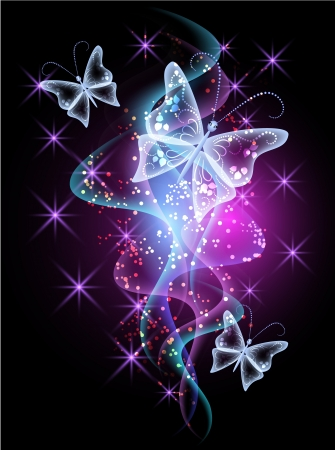 Smoke and glowing butterflies
