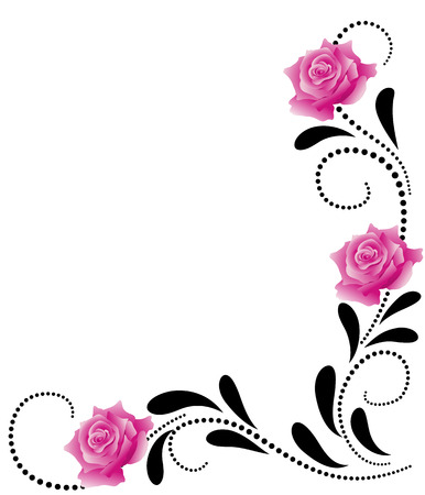 Illustration pour Corner decorative floral ornament with pink roses - image libre de droit